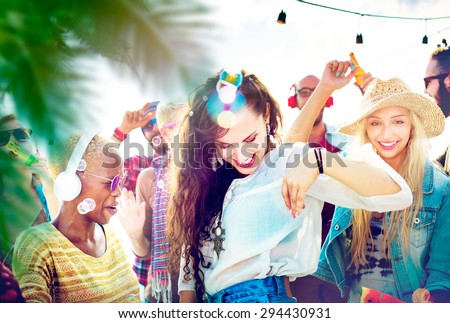 Friendship Dancing Bonding Beach Happiness Joyful Concept - stock photo