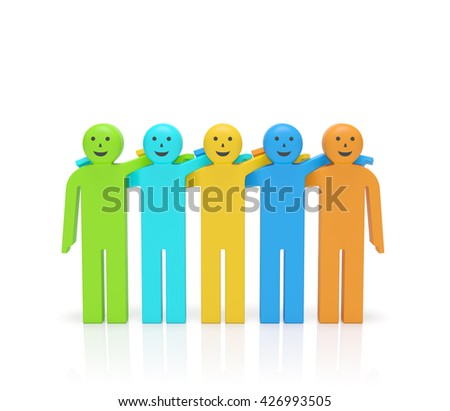 Friendship day. Hugging smiling happy colored people as symbol of Friendship day, friends for life, best buddies, brotherhood, solidarity or business team, networking, partnership (3d rendering) - stock photo