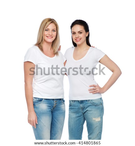 friendship, diverse, body positive and people concept - group of happy different women in white t-shirts hugging - stock photo