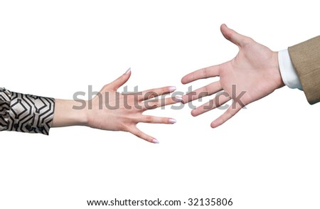 Friendship handshake between businesswoman and businessman
