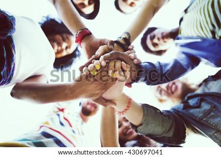 Friendship Happiness Leisure Partnership Team Concept - stock photo