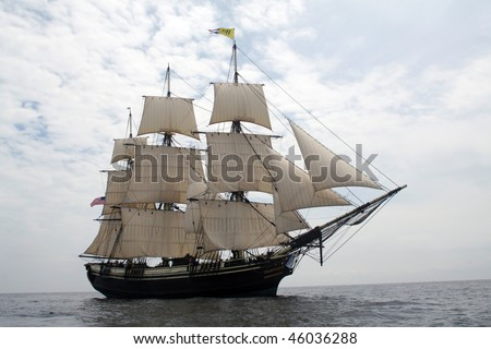 Friendship of Salem sails off of Gloucester - The Friendship of Salem is a National State Park and does not require a property release. - stock photo