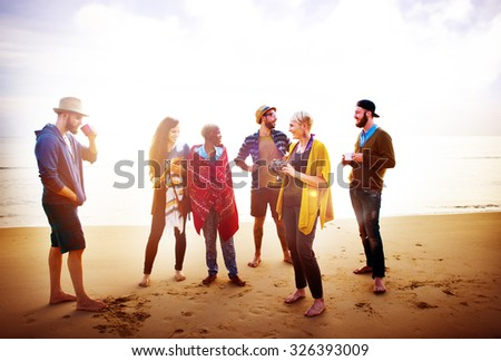 Friendship Relaxing Beach Morning Talking Concept - stock photo