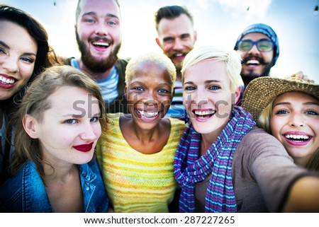 Friendship Selfie Happiness Beach Summer Concept - stock photo