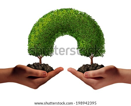Friendship unity as a multiracial hands concept with two human palms holding trees in soil growing together meeting to connect as a development symbol of togetherness as a team support icon. - stock photo