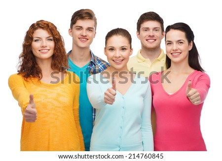 friendship, youth and people concept - group of smiling teenagers showing thumbs up - stock photo