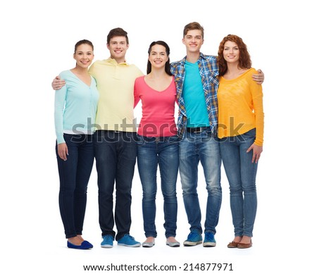 friendship, youth and people - group of smiling teenagers - stock photo