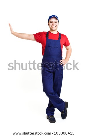 Friendy worker leaning on a imaginary wall - stock photo