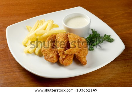 Fries  and Chicken Nuggets.closeup - stock photo