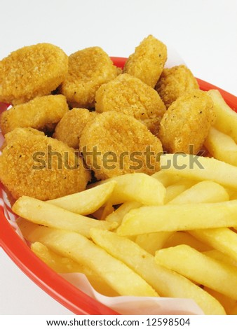 Fries & Chicken Nuggets - stock photo