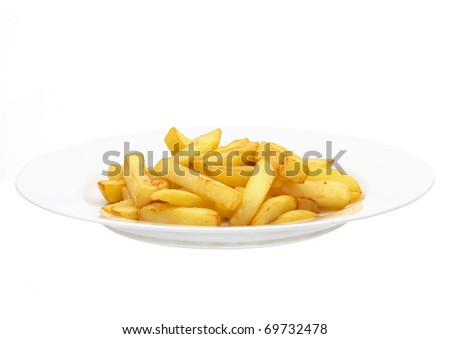 Fries on white ceramic plate