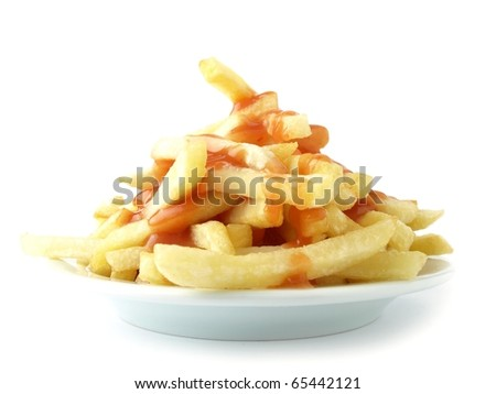 Fries potatoes with ketchup