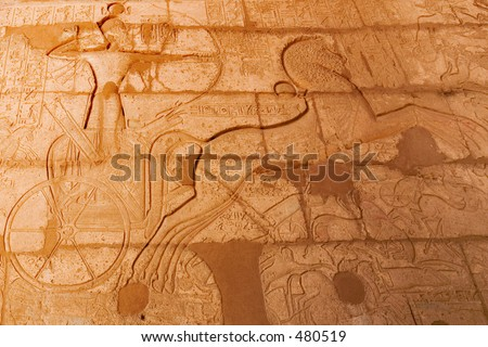 Frieze of Ramses II in his chariot at the Battle of Kadesh, at his funerary temple in Luxor, Ancient Thebes - stock photo
