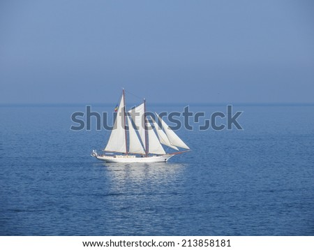 frigate on the sea