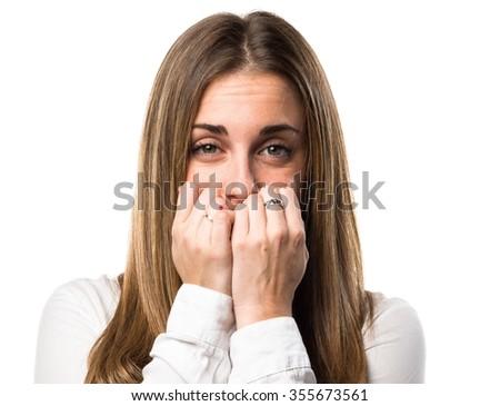 Frightened Blonde woman  - stock photo