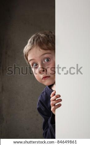 Frightened boy - stock photo