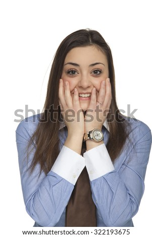 frightened business woman - stock photo