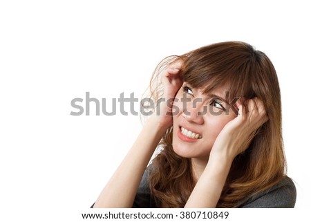 frightened business woman looking up - stock photo