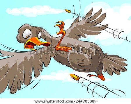 frightened duck flies from bullet, cartoon illustration - stock photo