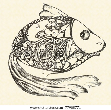 Frightened fish. Complex detailed picture