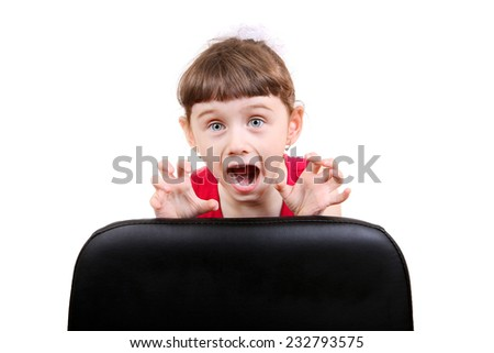 Frightened Little Girl Isolated on the White Background - stock photo