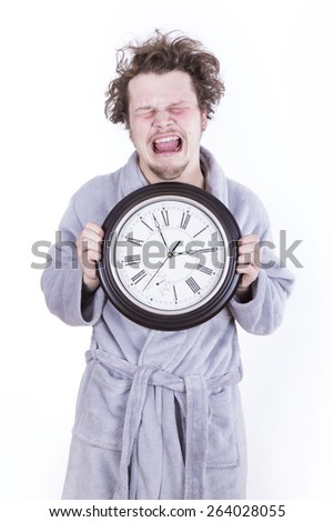frightened man with clock