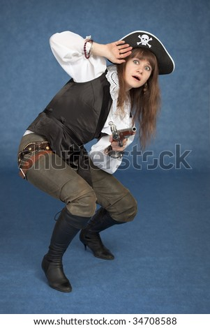 Frightened pirate girl - with pistol on a blue background
