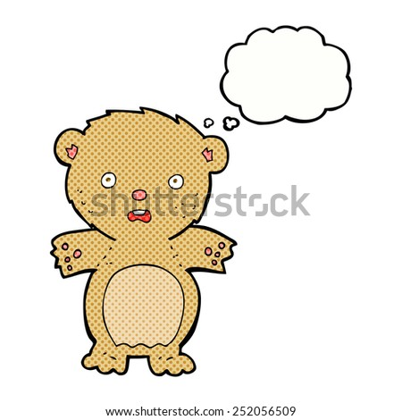 frightened teddy bear cartoon with thought bubble - stock photo