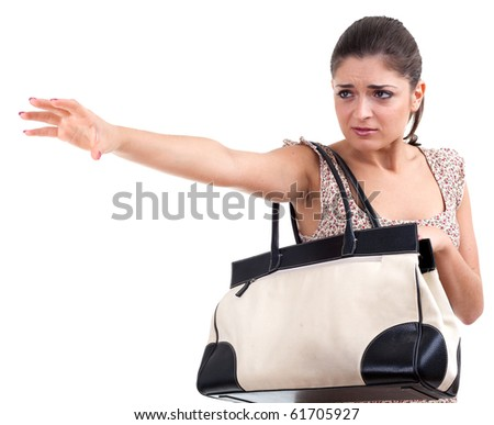 frightened woman with bag and raised hand