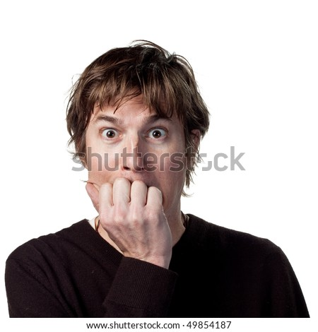 Frightened young man - stock photo
