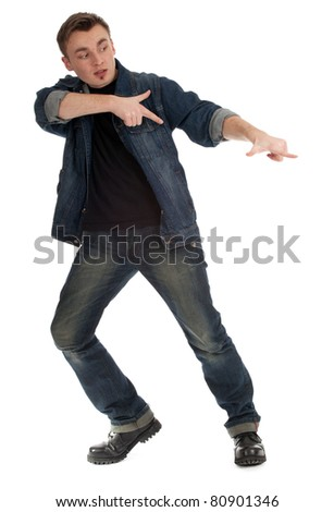 frightened young man pointing pointing in side - stock photo