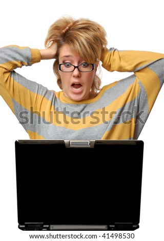Frightened young woman with notebook isolated over white background - stock photo