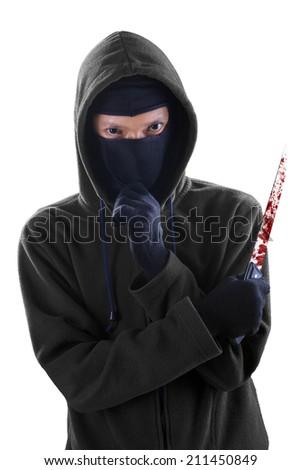 Frightening man holding bloody knife. isolated on white background - stock photo