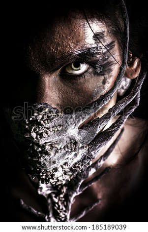 Frightening mythical creature male. Halloween. - stock photo