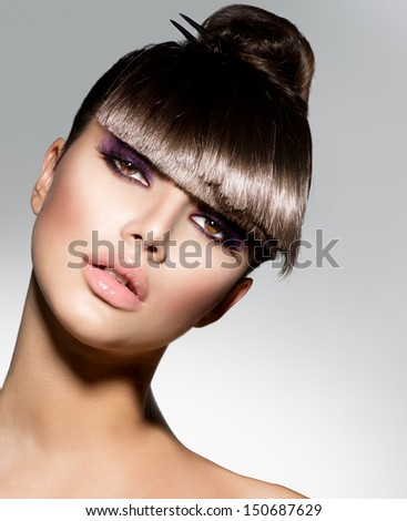 Model Haircut : Fringe. Fashion Model Girl With Trendy Hairstyle. Haircut. Stylish ...