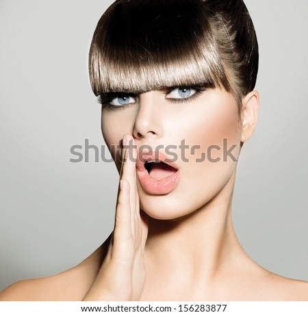 Fringe Fashion Model Girl Trendy Hairstyle Stock Photo - Haircut girl model