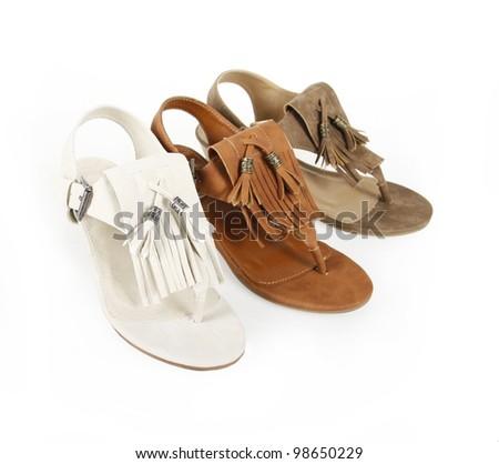 fringe sandals shoes isolated on white - stock photo