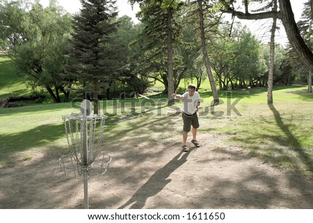 Frisbee Golf at Pioneer Park. Billings, Montana. - stock photo