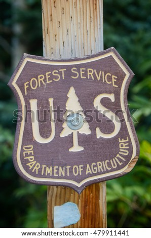 Frisco, Colorado - September 6, 2016: Sign of Forest Service, Department of Agriculture
