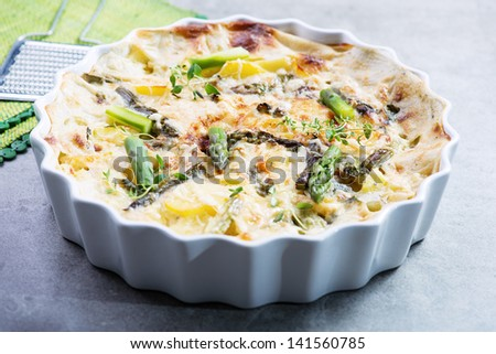 frittata ot tortilla with  green asparagus - stock photo