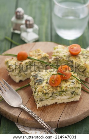 Frittata with Zucchini, Cheese and Dill - stock photo