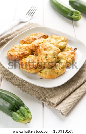 Fritters of zucchinis and ricotta cheese for vegetarian meal