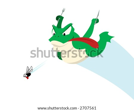 Frog and Fly - The Chase - stock photo