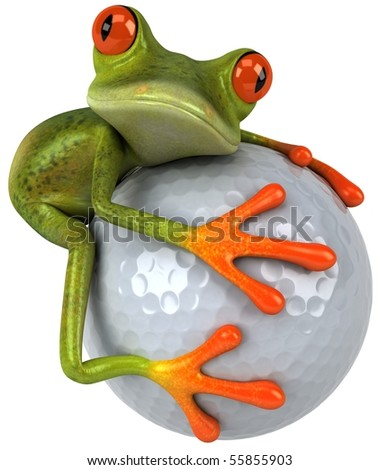 Frog and golf - stock photo