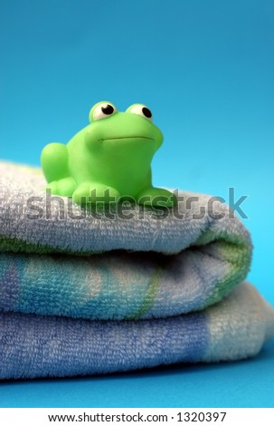 frog and towel - stock photo