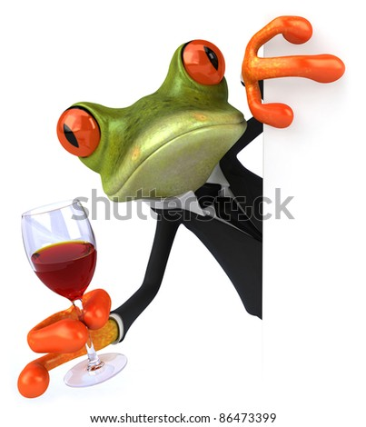 Frog and wine - stock photo