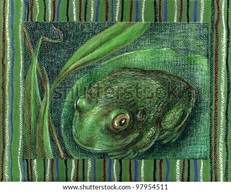 Frog at the lake. Crayons on pastel drawing paper.