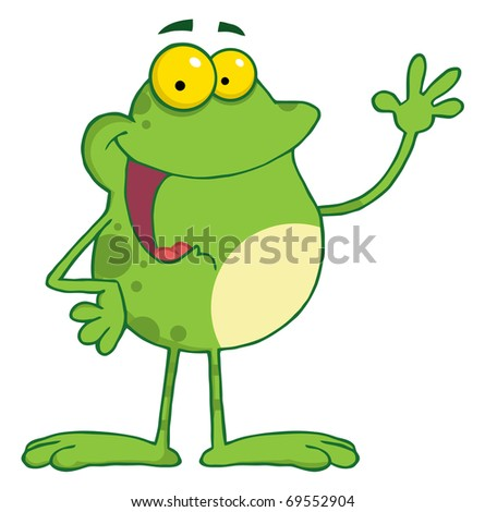 Frog Cartoon Mascot Character Waving A Greeting