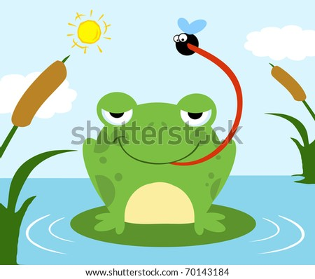 Frog Catching Fly - stock photo