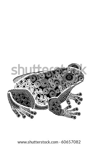 Frog in the beautiful patterns in ethnic style (Raster version)